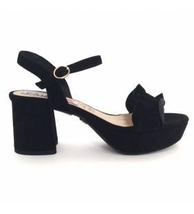 Sandalia piel ante negro 059