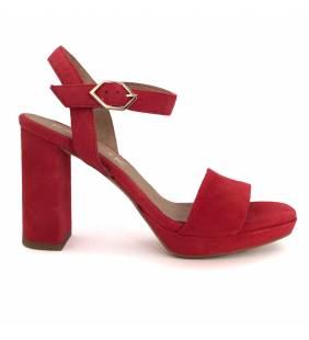 Sandalia piel ante rojo 211