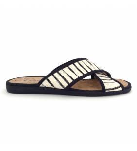 Sandalia textil marino y blanco 2253