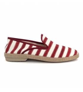 Zapatilla textil rojo y blanco 079