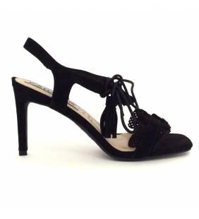 Sandalia piel ante negro 019