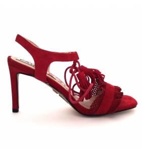 Sandalia piel ante rojo 019
