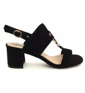 Sandalia piel ante negro 041