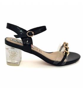 Sandalia piel charol negro y vinilo 051