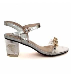 Sandalia piel metal plata y vinilo 051