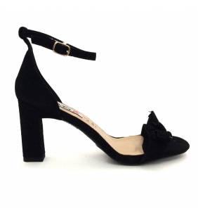 Sandalia piel ante negro 055
