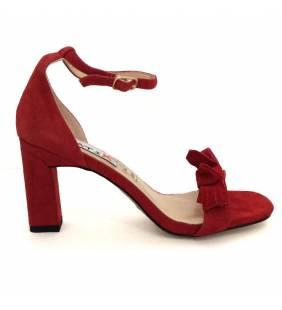Sandalia piel ante rojo 055