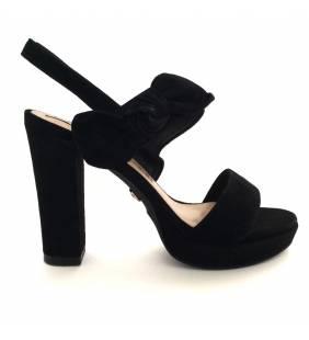 Sandalia piel ante negro 071