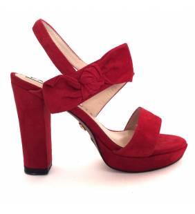 Sandalia piel ante rojo 071