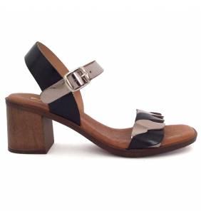 Sandalia piel negro y acero 65081
