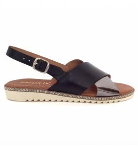 Sandalia piel negro y acero 42003