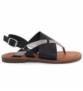 Sandalia piel negro y acero 77156