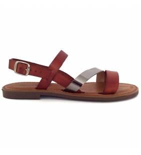 Sandalia piel calabaza y acero 77151