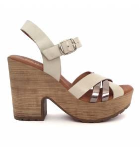 Sandalia piel blanco y acero 79136