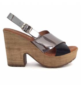 Sandalia piel negro y acero 79036