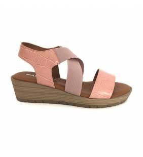 Sandalia piel coco rosa/nude 4835