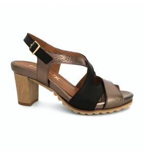 Sandalia piel negro/metal 760