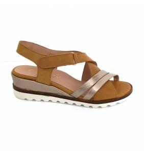 Sandalia piel mostaza/dollaro 1385