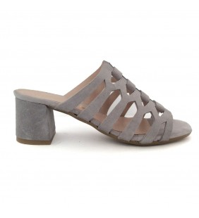 Sandalia  piel serraje gris perla 1247
