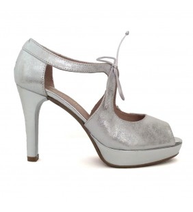 Sandalia piel metal plata 13430