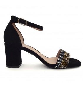 Sandalia  piel ante negro 14542
