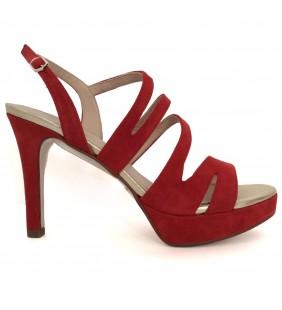 Sandalia piel ante rojo 88628