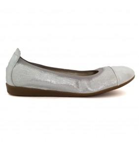 Bailarina  piel napa  blanco-plata 9642