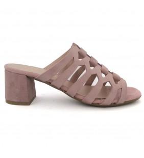 Sandalia  piel serraje rosa nude 1247