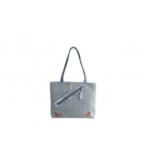 Bolso denim bordado kiss 19002