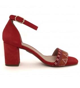Sandalia  piel ante rojo 14542