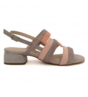 Sandalia  piel ante gris, nude 5806