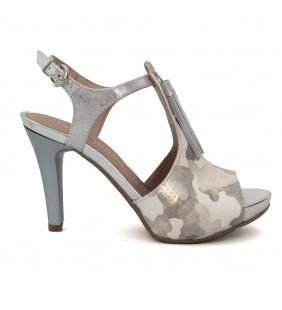Sandalia  piel komando plata/blanco 1361