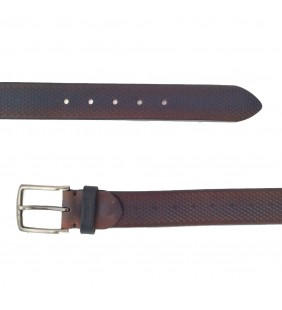 Cinturón piel grabado marrón 535