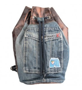 Petate  denim y metal encerado bronce 19007