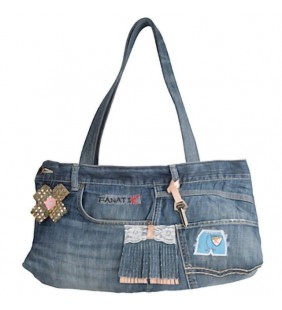 Bolso en denim doble asa 19012