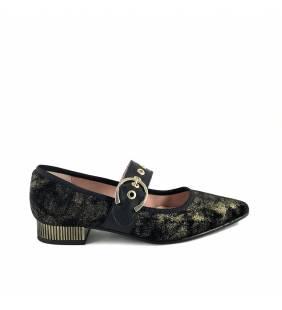 Salón  textil negro/oro 7103
